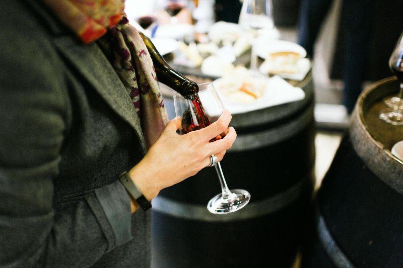 Pouring primeur wine