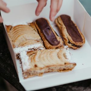 Classic French pastries - eclairs and tartes